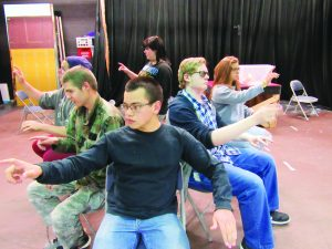 Courtesy photo Students from 7th period theatre class at WPHS prepare KALIEDOSCOPE, a one-act play by Ray Bradbury.  (L to R) Kyle Nicholls, Michael Sims, Ray Tellechea, Jess Stone, Hannah Barber with Katilyn White in the back.