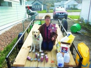 Courtesy photo Mayor Melody Van Camp and Barney ready for recycled art contest.
