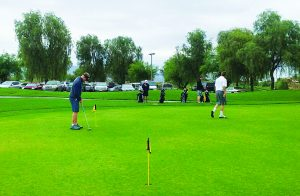 Randy Long photo  White Pine County School District faces large cuts to its budget this year, including many sports including boys and girls golf. Boys golf team playing at Mojave Resort golf course this week.