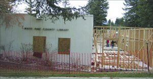 Ross Johnson photo Schell Creek Construction frames the library expansion.