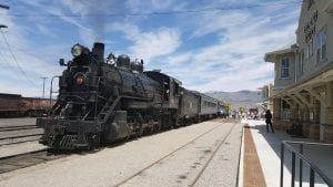 The Nevada Northern Railway has two original century old steam locomotives in operation. Here's Locomotive 93 in front of the East Ely Depot with passengers boarding.
