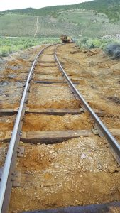 Courtesy photo Built at the same time as the Las Vegas and Tonopah, the Nevada Northern Railway track has undergone continuous improvement over the past century. Today new ties are being installed.