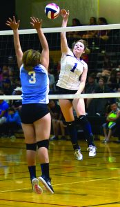 Photo special to the Times/robert switzer Mikinley Prengel goes for the ball in a game against McDermitt in the Battle Mountain tournament, held a couple of weeks ago.