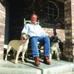 Burrell Bybee with his new friend Fred (left), and Marty.