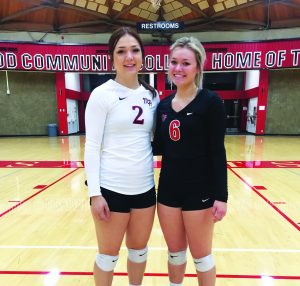 Courtesy photo Ashlyn Huntington and Mikalyn Almberg, former White Pine volleyball players now at Mt. Hood Community College in Gresham, Oregon.