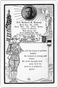 Richard B. Ramsey Memorial Card – When you look at the Memorial you see names on the wall, this card shows the person.