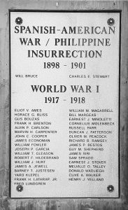 White Pine County World War 1 Memorial Plaque – This the World War 1 Memorial Plaque that is on the grounds of the White Pine County Courthouse. Only three of the names were born in White Pine County and only two are buried in White Pine County. Henry J. Yelland in the Ely Cemetery. Oliver M. Peacock is buried in the Lund Cemetery in Lund Nevada. Horace G. Bliss is buried in the Garrison Cemetery, just across the Nevada border in Garrison Utah.