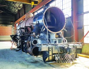Nevada Northern Railway photo Locomotive 81 today - we've made great progress on Locomotive 81. The last time she looked this way was a century ago at the Baldwin Locomotive Works in Philadelphia. The boiler has been stripped and now we're ready to do the interior tubes.