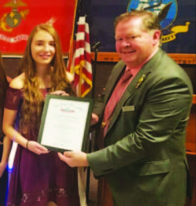 Submitted photo  From left, Kaycee Schulz and Elks Grand Exalted Ruler Michael T. Luhr