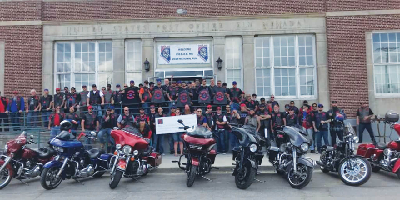 Bikers helping kids