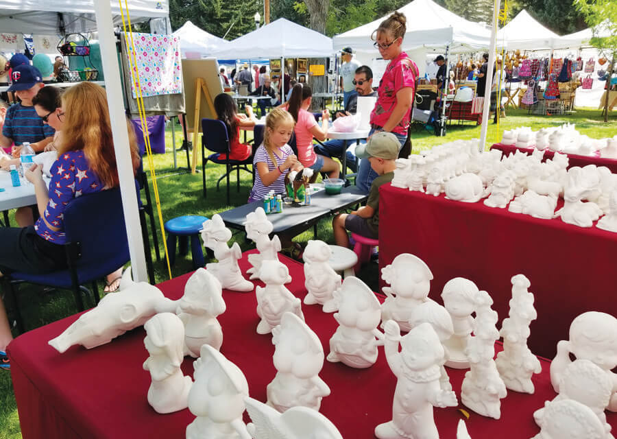 Handcrafted items on display, for sale at Arts in the Park
